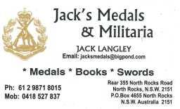 Jacks Medals card